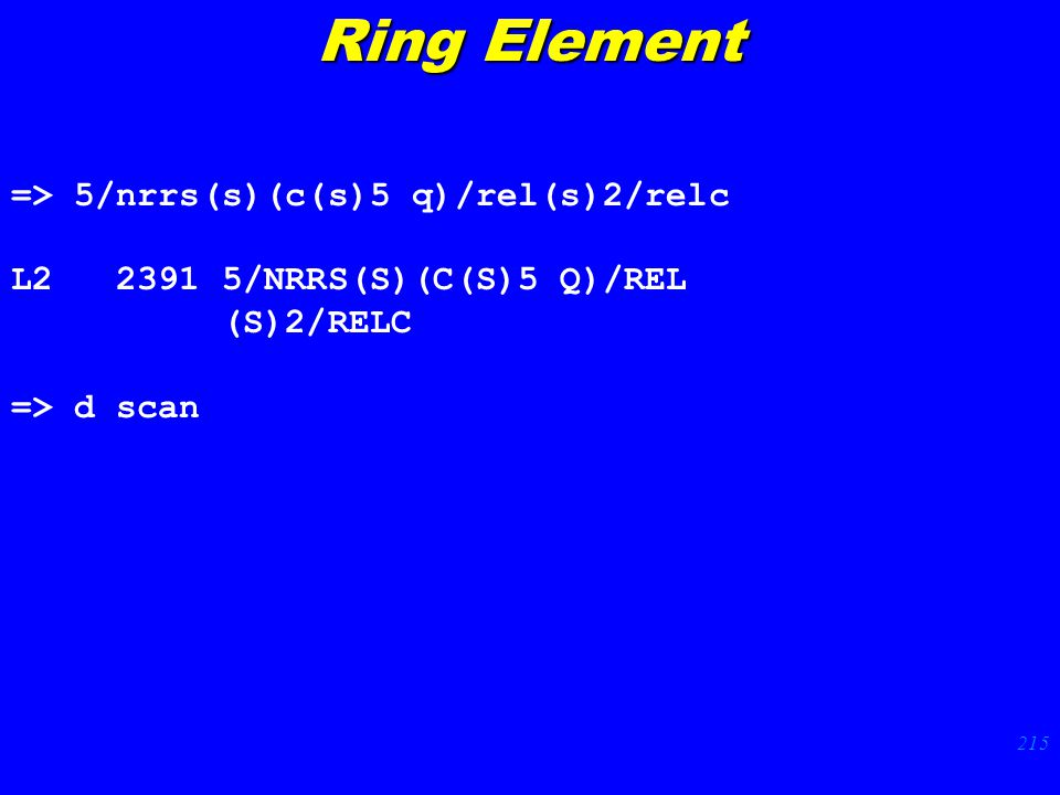 215 => 5/nrrs(s)(c(s)5 q)/rel(s)2/relc L2 2391 5/NRRS(S)(C(S)5 Q)/REL (S)2/RELC => d scan Ring Element