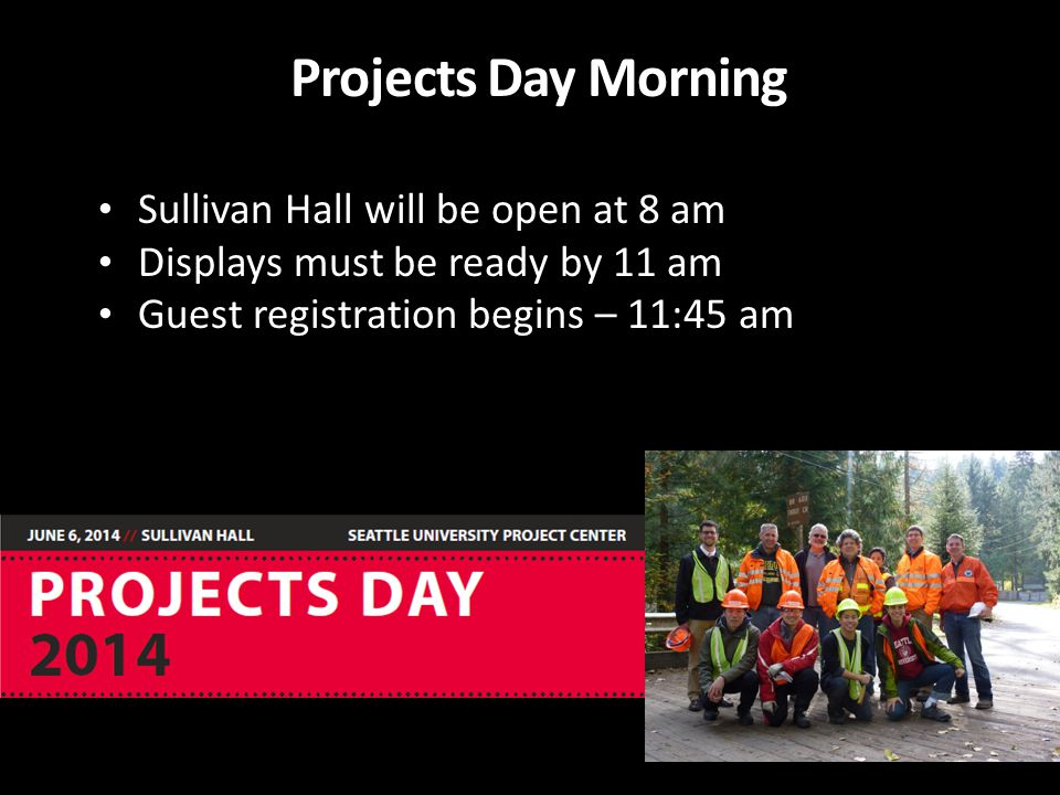 Projects Day Morning Sullivan Hall will be open at 8 am Displays must be ready by 11 am Guest registration begins – 11:45 am