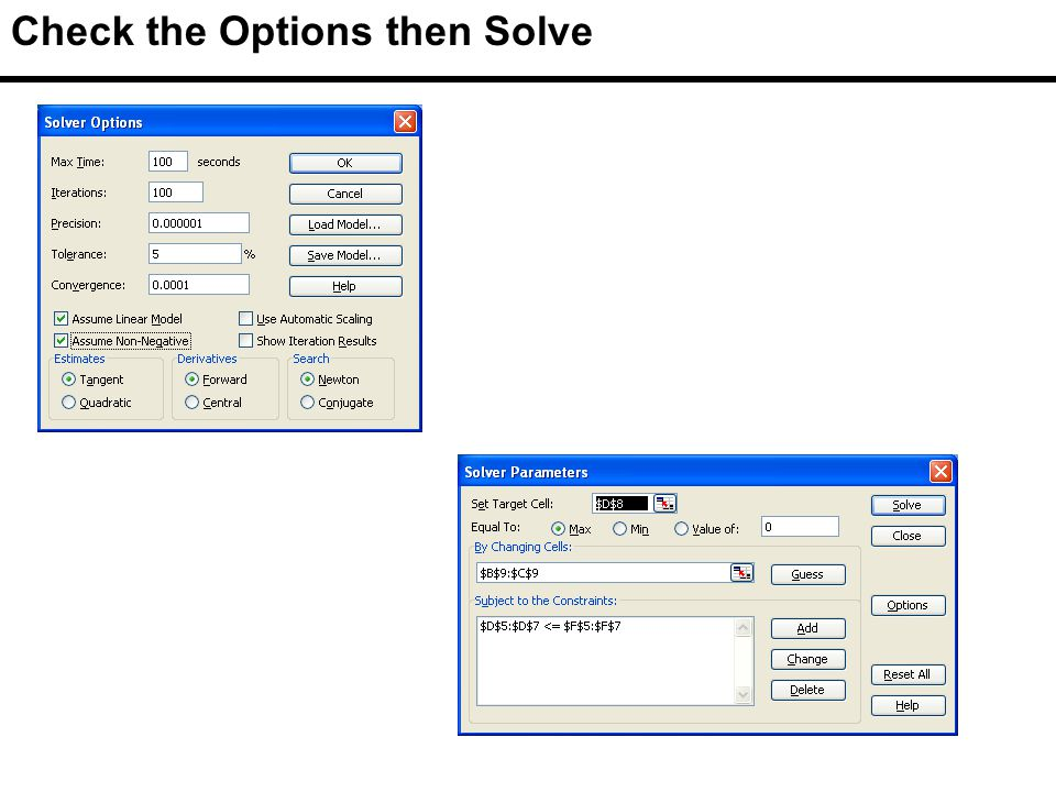Check the Options then Solve