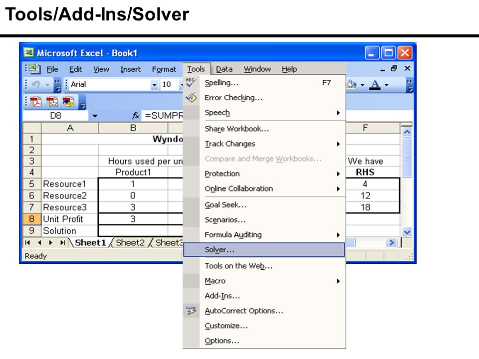 Tools/Add-Ins/Solver