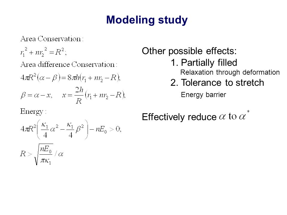 Modeling study Other possible effects: 1. Partially filled Relaxation through deformation 2.