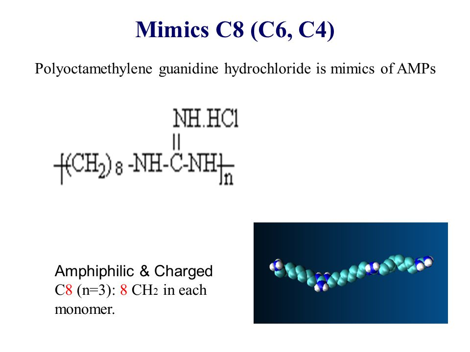 Mimics C8 (C6, C4) Polyoctamethylene guanidine hydrochloride is mimics of AMPs Amphiphilic & Charged C8 (n=3): 8 CH 2 in each monomer.