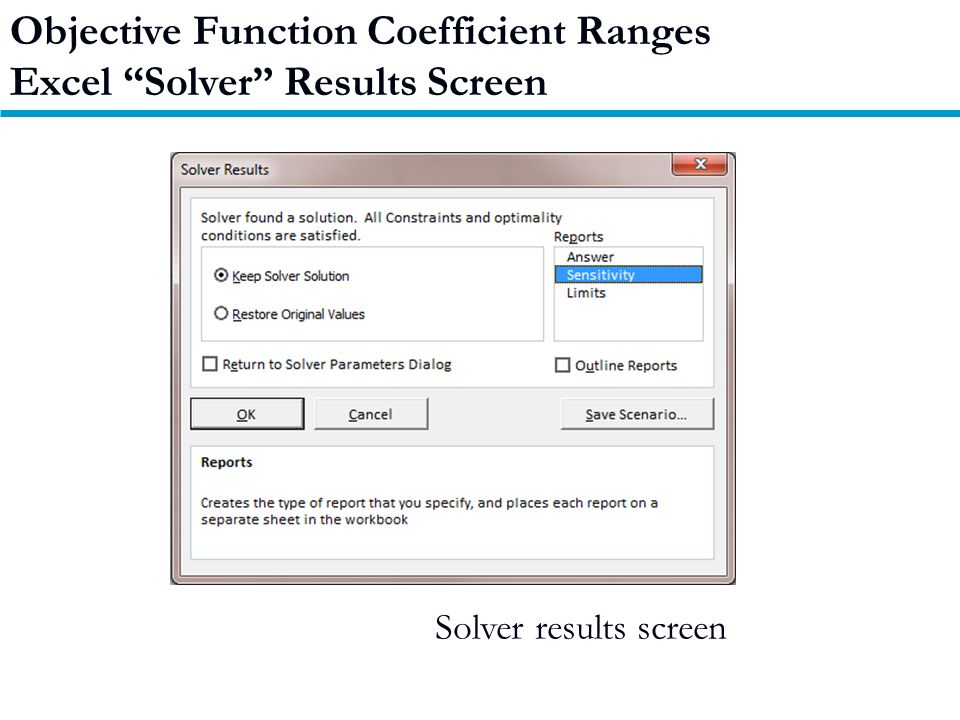 Solver results screen Objective Function Coefficient Ranges Excel Solver Results Screen
