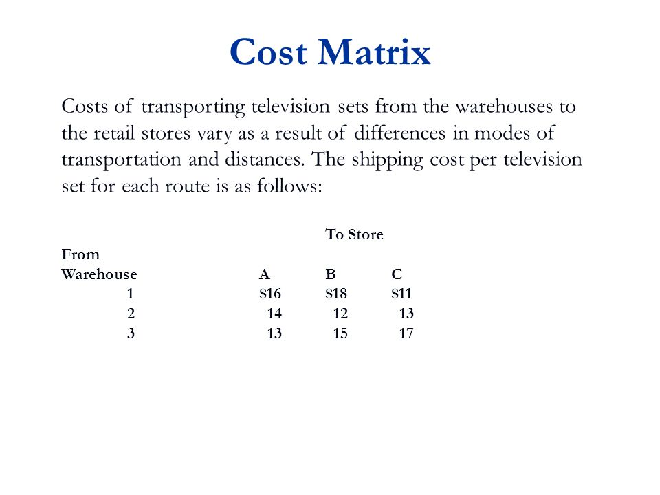 Cost Matrix Costs of transporting television sets from the warehouses to the retail stores vary as a result of differences in modes of transportation and distances.