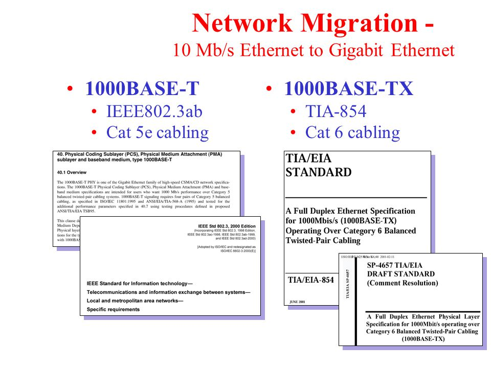 Network Migration - 10 Mb/s Ethernet to Gigabit Ethernet 1000BASE-T IEEE802.3ab Cat 5e cabling 1000BASE-TX TIA-854 Cat 6 cabling
