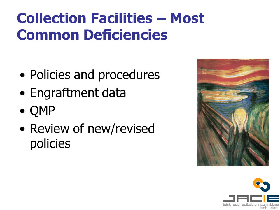 Collection Facilities – Most Common Deficiencies Policies and procedures Engraftment data QMP Review of new/revised policies