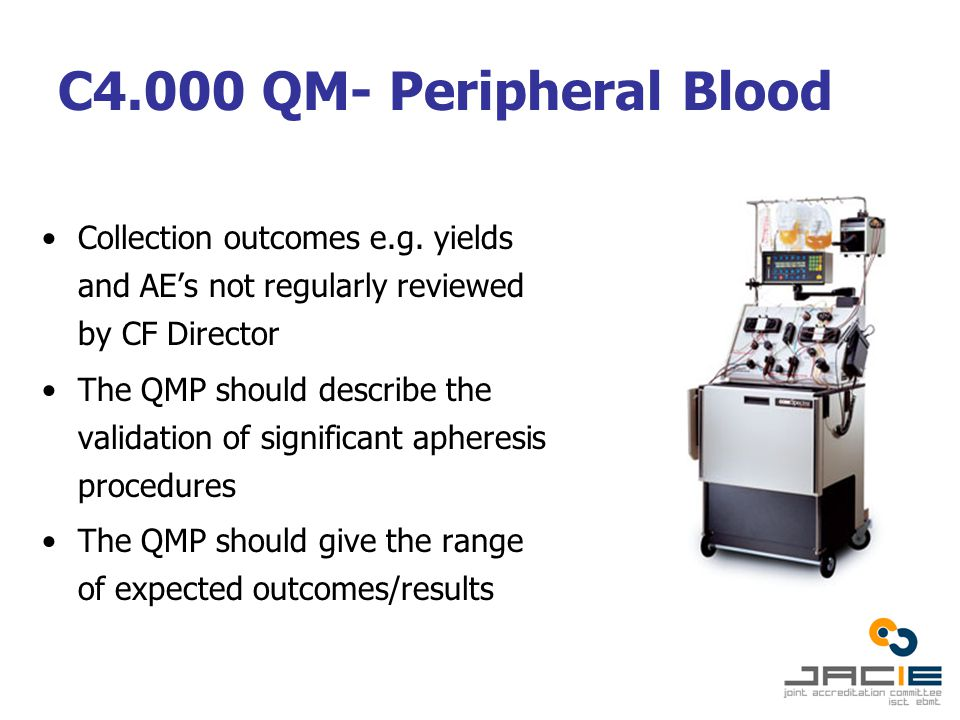C4.000 QM- Peripheral Blood Collection outcomes e.g.