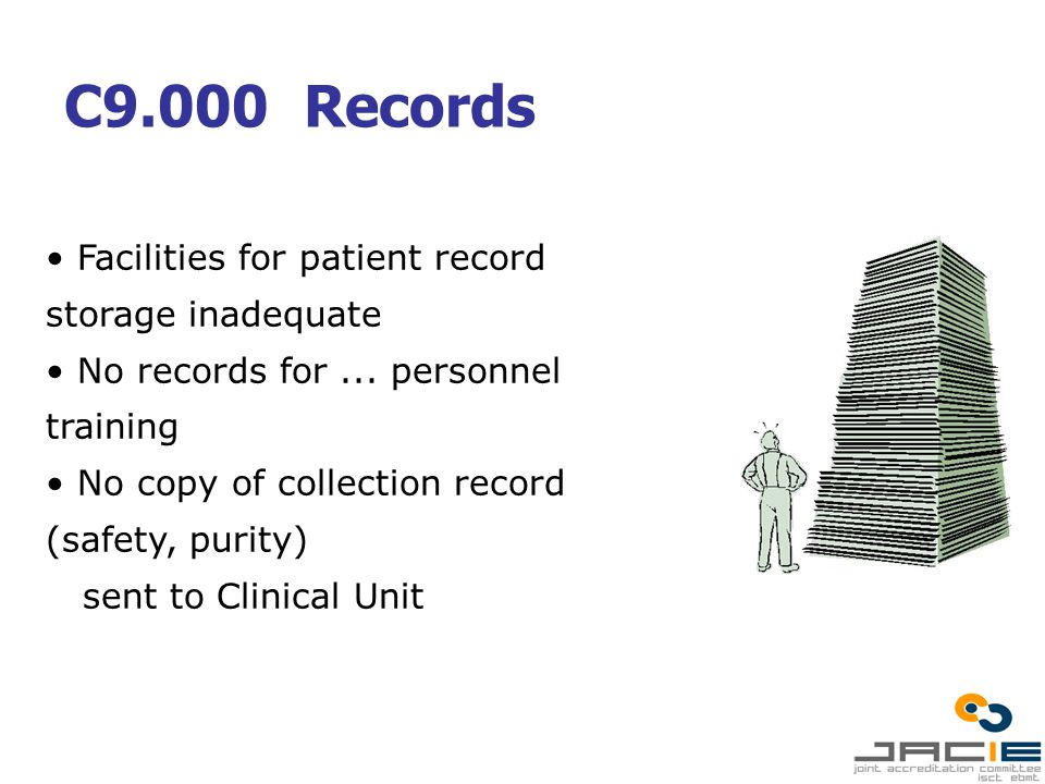 C9.000 Records Facilities for patient record storage inadequate No records for...