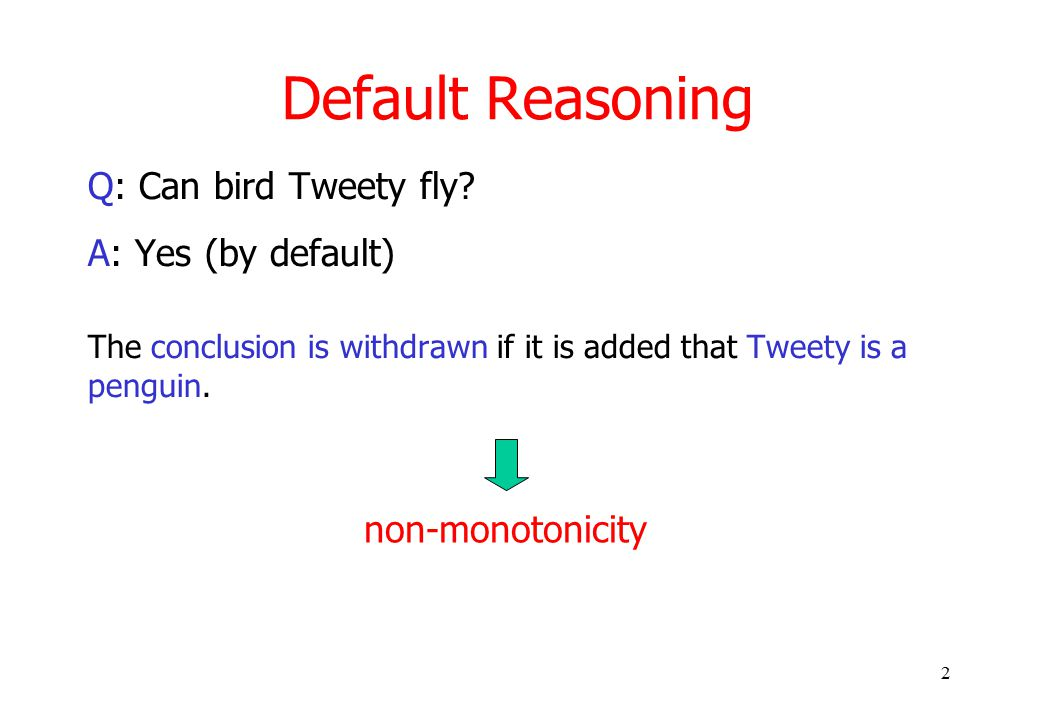 2 Default Reasoning Q: Can bird Tweety fly.