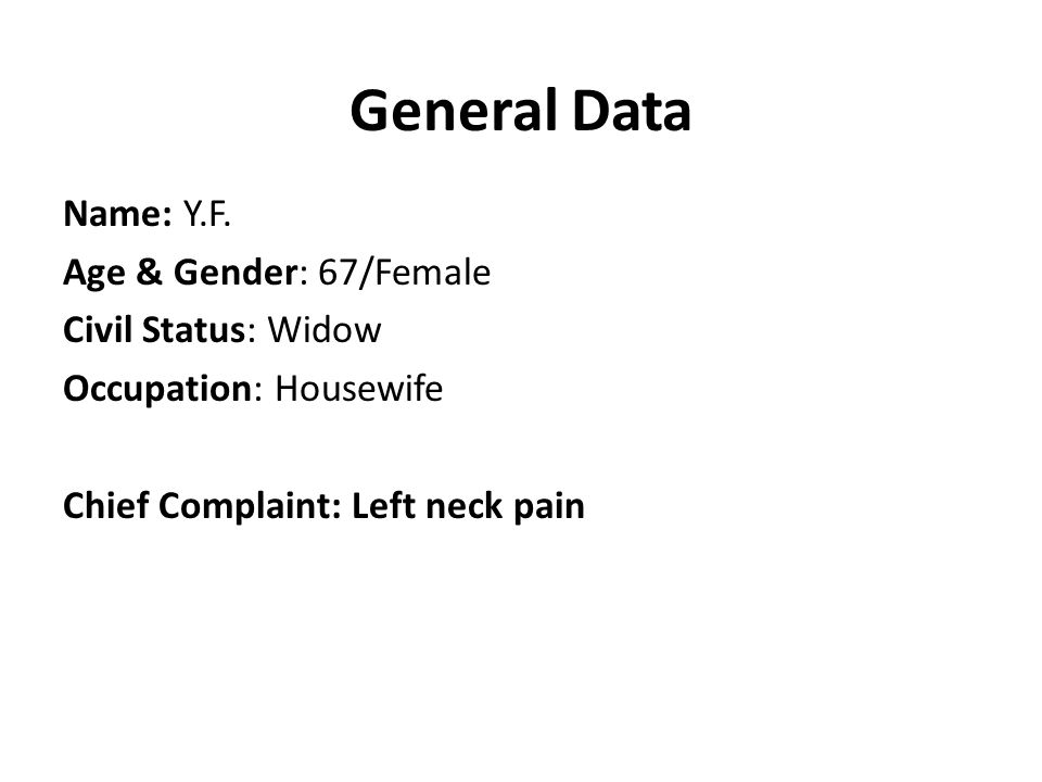 General Data Name: Y.F.
