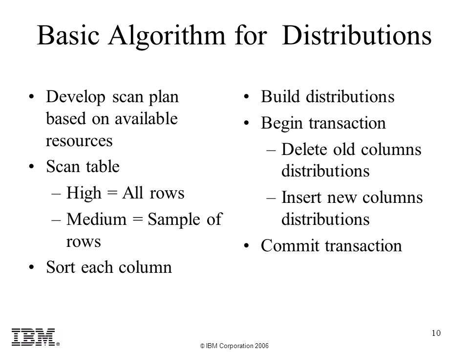 © IBM Corporation 2006 10 Basic Algorithm for Distributions Develop scan plan based on available resources Scan table –High = All rows –Medium = Sample of rows Sort each column Build distributions Begin transaction –Delete old columns distributions –Insert new columns distributions Commit transaction