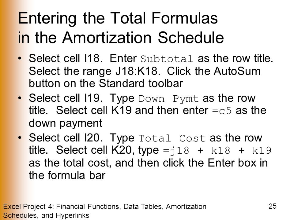 Excel Project 4: Financial Functions, Data Tables, Amortization Schedules, and Hyperlinks 25 Entering the Total Formulas in the Amortization Schedule Select cell I18.