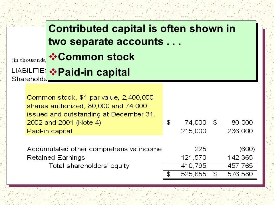 Contributed capital is often shown in two separate accounts...