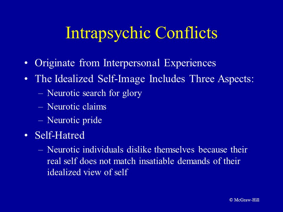 © McGraw-Hill Intrapsychic Conflicts Originate from Interpersonal Experiences The Idealized Self-Image Includes Three Aspects: –Neurotic search for glory –Neurotic claims –Neurotic pride Self-Hatred –Neurotic individuals dislike themselves because their real self does not match insatiable demands of their idealized view of self