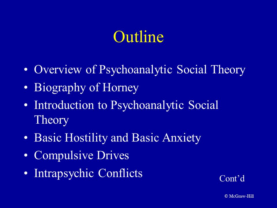 © McGraw-Hill Outline Overview of Psychoanalytic Social Theory Biography of Horney Introduction to Psychoanalytic Social Theory Basic Hostility and Basic Anxiety Compulsive Drives Intrapsychic Conflicts Cont'd