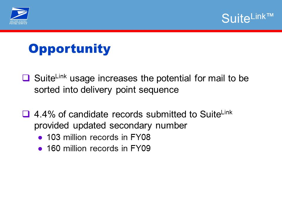  Suite Link usage increases the potential for mail to be sorted into delivery point sequence  4.4% of candidate records submitted to Suite Link provided updated secondary number ●103 million records in FY08 ●160 million records in FY09 Opportunity Suite Link™