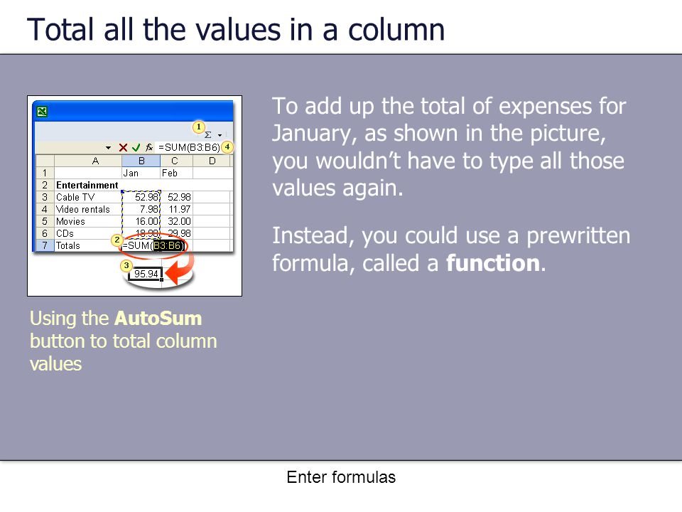 Enter formulas Total all the values in a column To add up the total of expenses for January, as shown in the picture, you wouldn't have to type all those values again.