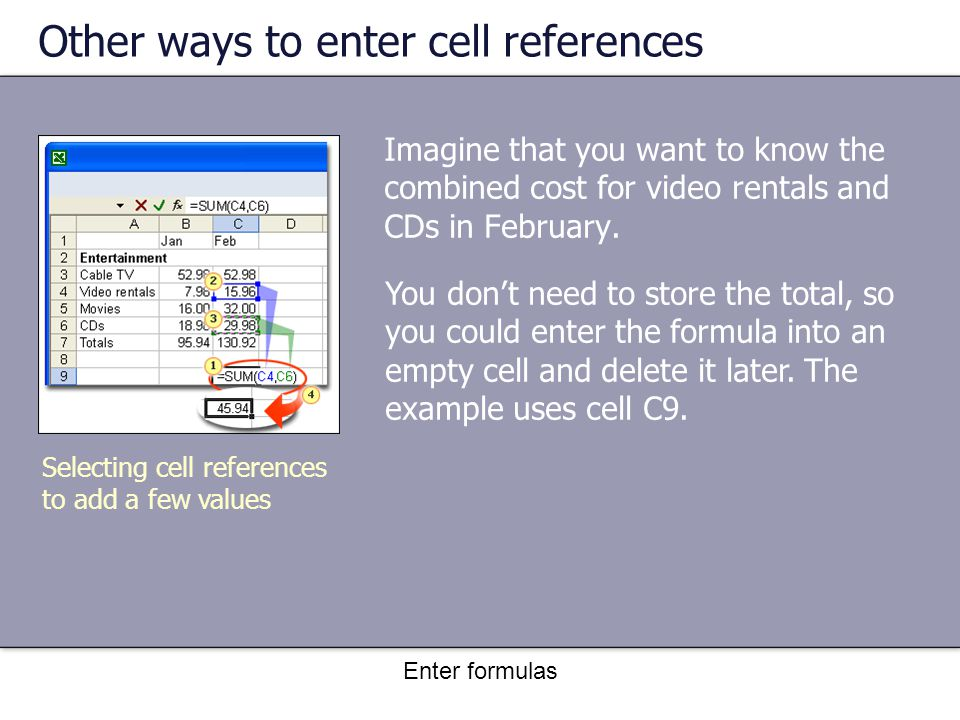 Enter formulas Other ways to enter cell references Imagine that you want to know the combined cost for video rentals and CDs in February.
