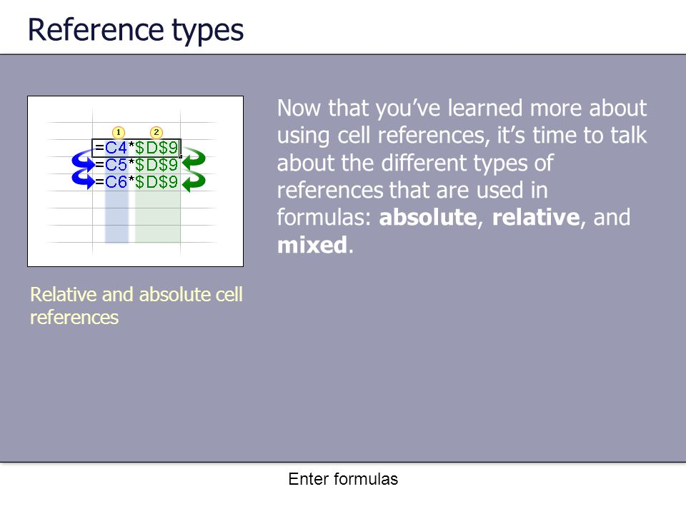 Enter formulas Reference types Now that you've learned more about using cell references, it's time to talk about the different types of references that are used in formulas: absolute, relative, and mixed.