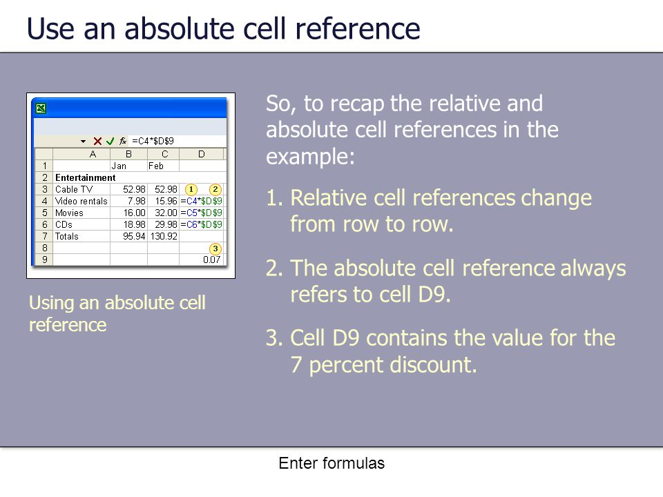 Enter formulas Use an absolute cell reference So, to recap the relative and absolute cell references in the example: Using an absolute cell reference 1.Relative cell references change from row to row.