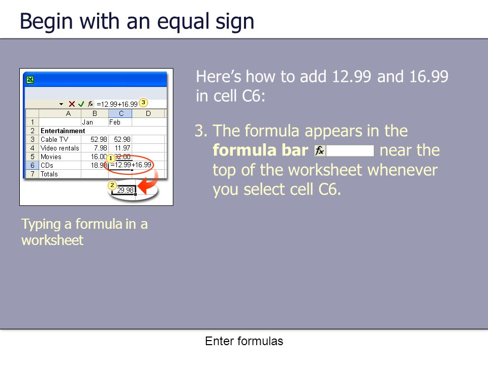 Enter formulas Begin with an equal sign Here's how to add 12.99 and 16.99 in cell C6: Typing a formula in a worksheet 3.The formula appears in the formula bar near the top of the worksheet whenever you select cell C6.