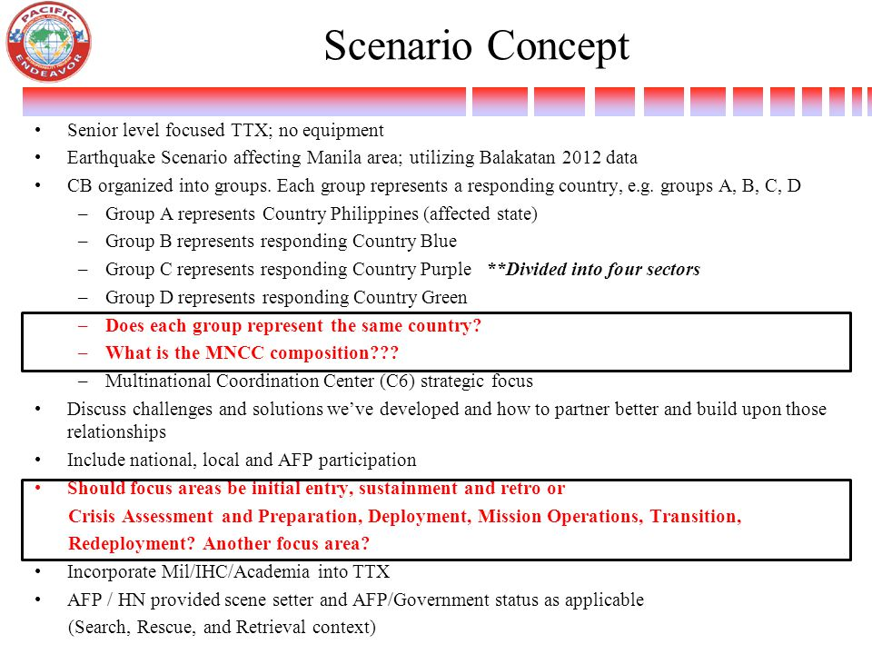 Scenario Concept Senior level focused TTX; no equipment Earthquake Scenario affecting Manila area; utilizing Balakatan 2012 data CB organized into groups.