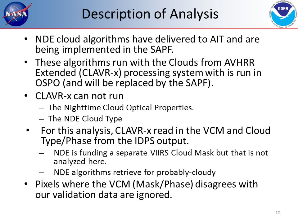Description of Analysis NDE cloud algorithms have delivered to AIT and are being implemented in the SAPF.