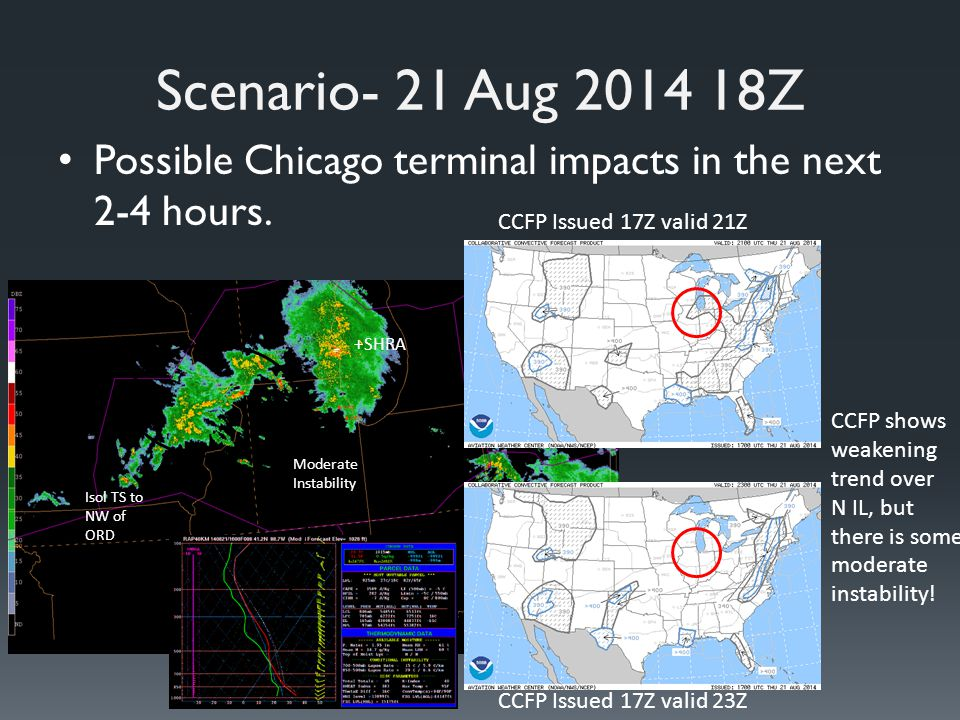 Scenario- 21 Aug 2014 18Z Possible Chicago terminal impacts in the next 2-4 hours.