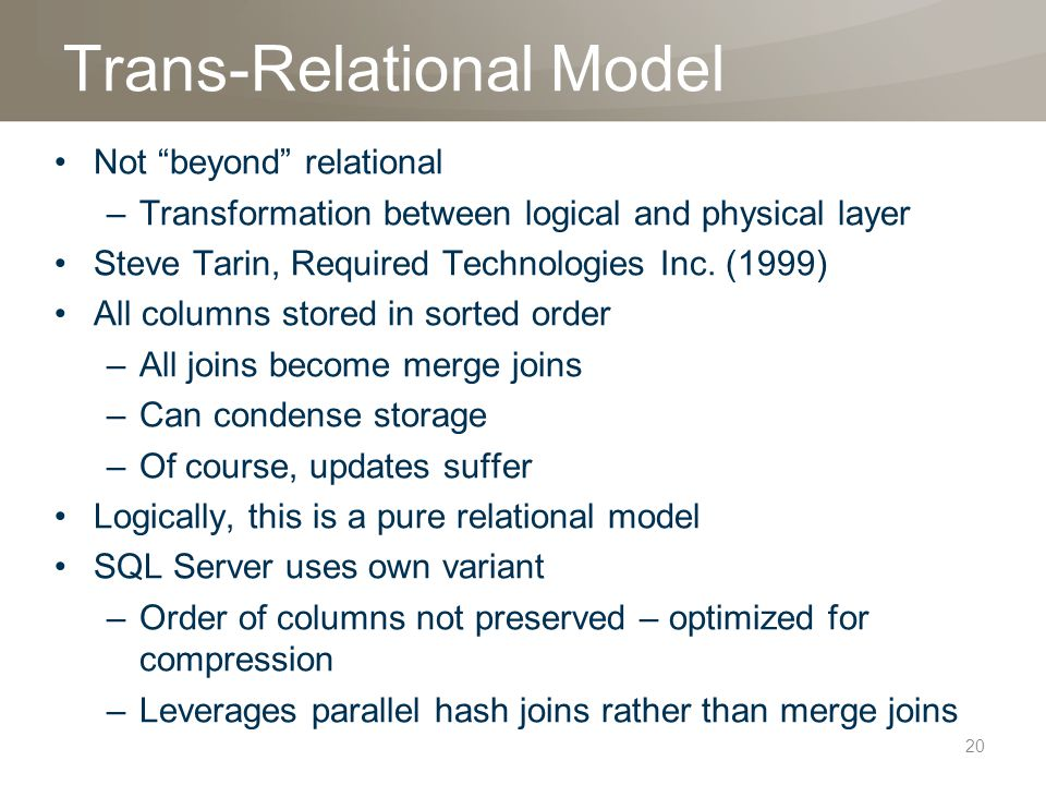 Trans-Relational Model Not beyond relational –Transformation between logical and physical layer Steve Tarin, Required Technologies Inc.
