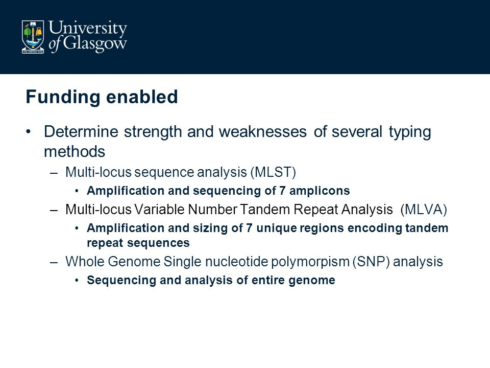 Funding enabled Determine strength and weaknesses of several typing methods –Multi-locus sequence analysis (MLST) Amplification and sequencing of 7 amplicons –Multi-locus Variable Number Tandem Repeat Analysis (MLVA) Amplification and sizing of 7 unique regions encoding tandem repeat sequences –Whole Genome Single nucleotide polymorpism (SNP) analysis Sequencing and analysis of entire genome