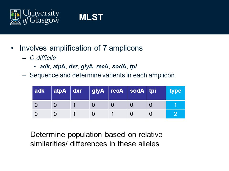 MLST adkatpAdxrglyArecAsodAtpitype 00100001 00101002 Involves amplification of 7 amplicons –C.difficile adk, atpA, dxr, glyA, recA, sodA, tpi –Sequence and determine varients in each amplicon Determine population based on relative similarities/ differences in these alleles