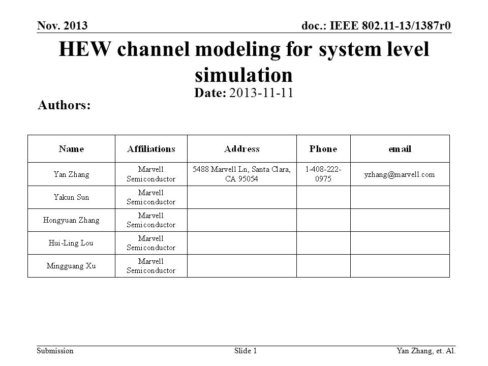 doc.: IEEE 802.11-13/1387r0 Submission Nov. 2013 Yan Zhang, et.