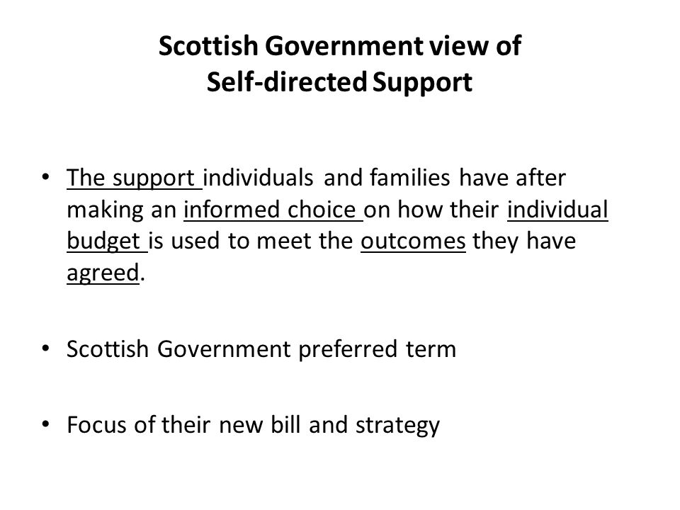 Scottish Government view of Self-directed Support The support individuals and families have after making an informed choice on how their individual budget is used to meet the outcomes they have agreed.
