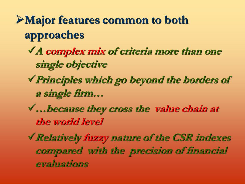  Major features common to both approaches A complex mix of criteria more than one single objective A complex mix of criteria more than one single objective Principles which go beyond the borders of a single firm… Principles which go beyond the borders of a single firm… …because they cross the value chain at the world level …because they cross the value chain at the world level Relatively fuzzy nature of the CSR indexes compared with the precision of financial evaluations Relatively fuzzy nature of the CSR indexes compared with the precision of financial evaluations