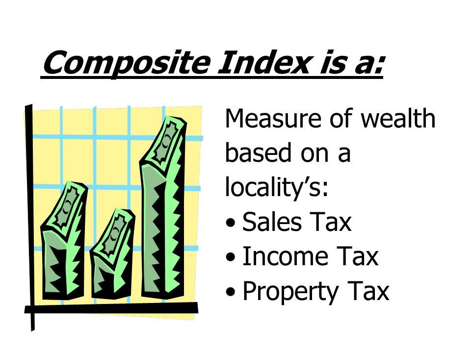 Composite Index is a: Measure of wealth based on a locality's: Sales Tax Income Tax Property Tax