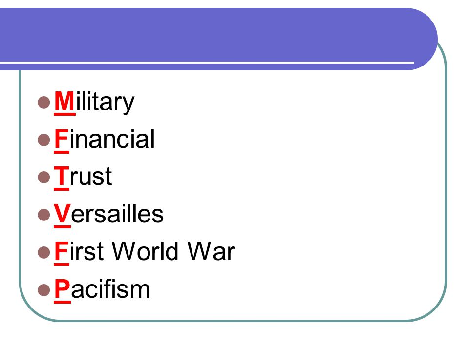 Military Financial Trust Versailles First World War Pacifism