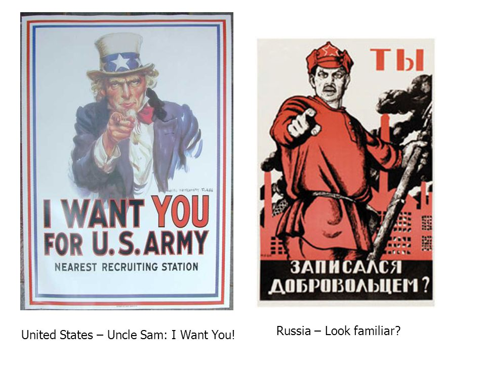 United States – Uncle Sam: I Want You! Russia – Look familiar