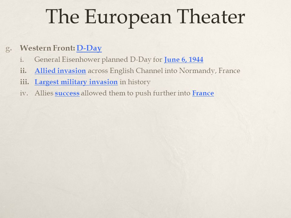 The European Theater g.