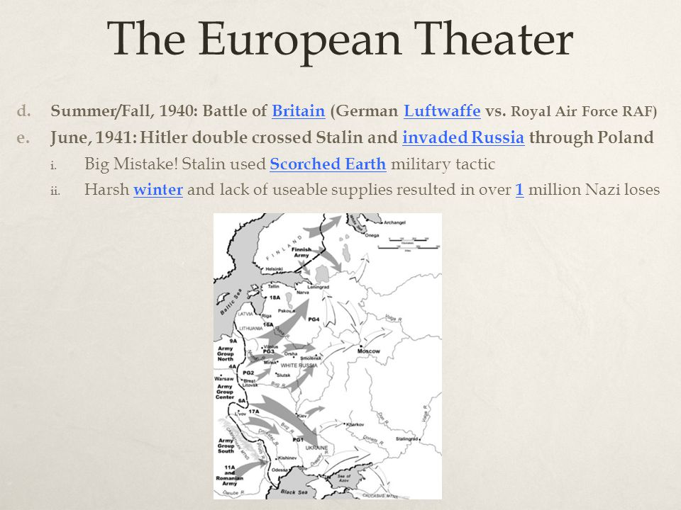The European Theater d. Summer/Fall, 1940: Battle of Britain (German Luftwaffe vs.