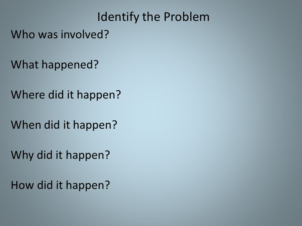 Identify the Problem Who was involved. What happened.