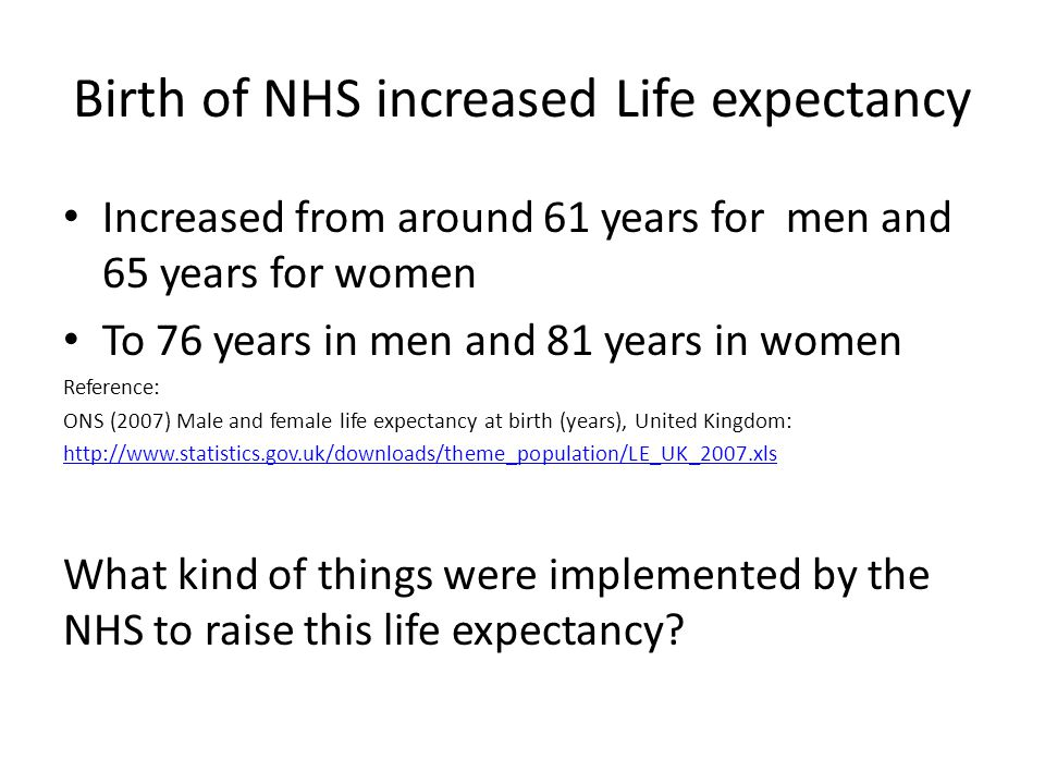 Birth of NHS increased Life expectancy Increased from around 61 years for men and 65 years for women To 76 years in men and 81 years in women Reference: ONS (2007) Male and female life expectancy at birth (years), United Kingdom: http://www.statistics.gov.uk/downloads/theme_population/LE_UK_2007.xls What kind of things were implemented by the NHS to raise this life expectancy