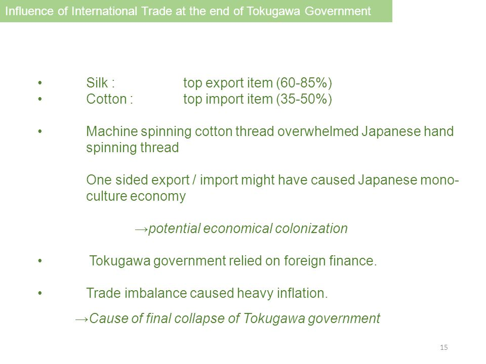 Silk : top export item (60-85%) Cotton : top import item (35-50%) Machine spinning cotton thread overwhelmed Japanese hand spinning thread One sided export / import might have caused Japanese mono- culture economy →potential economical colonization Tokugawa government relied on foreign finance.