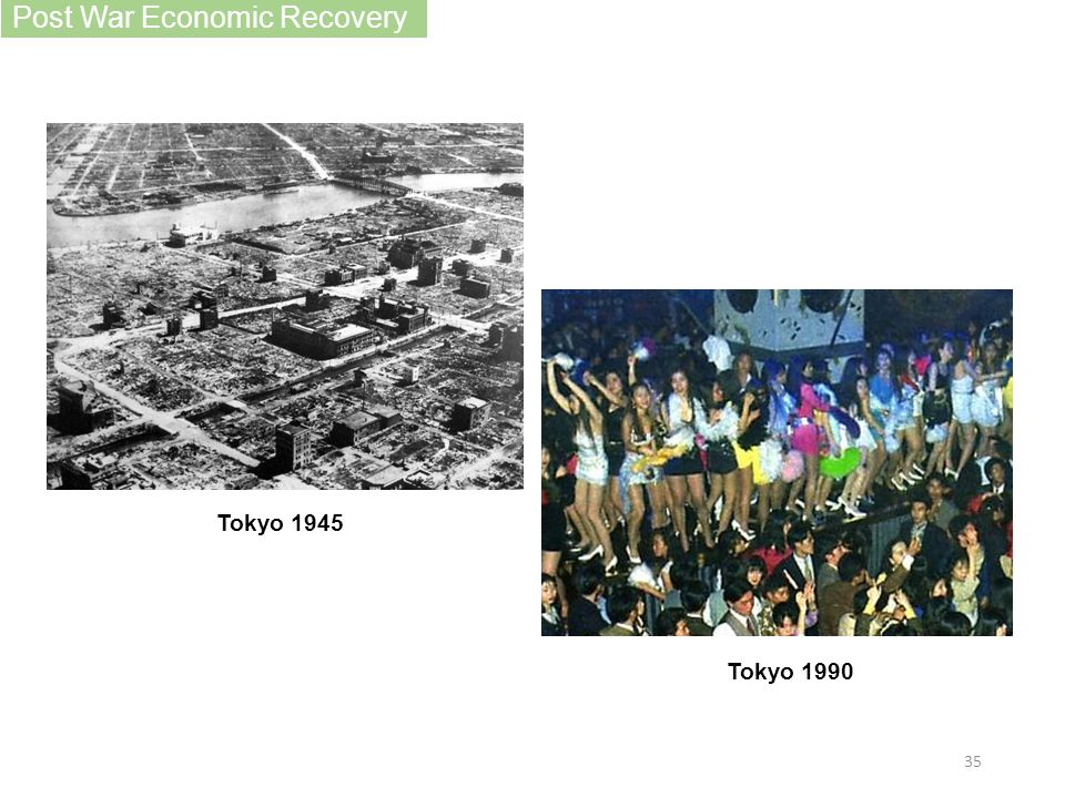 Post War Economic Recovery Tokyo 1945 Tokyo 1990 35