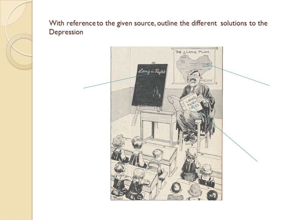 With reference to the given source, outline the different solutions to the Depression
