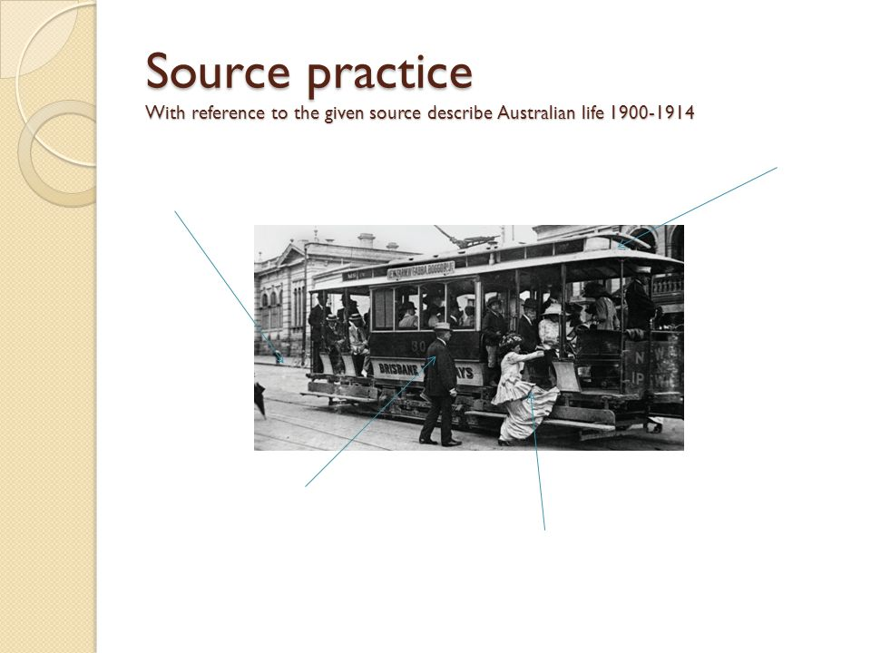 Source practice With reference to the given source describe Australian life 1900-1914