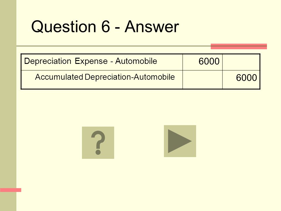 Question 6 - Answer Depreciation Expense - Automobile 6000 Accumulated Depreciation-Automobile 6000