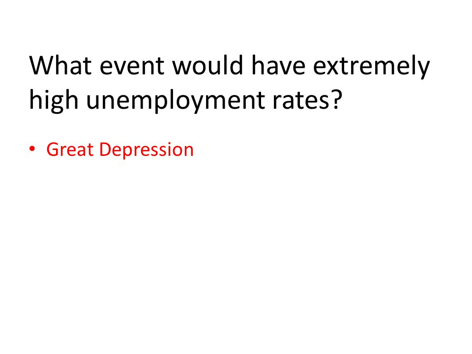 What event would have extremely high unemployment rates Great Depression