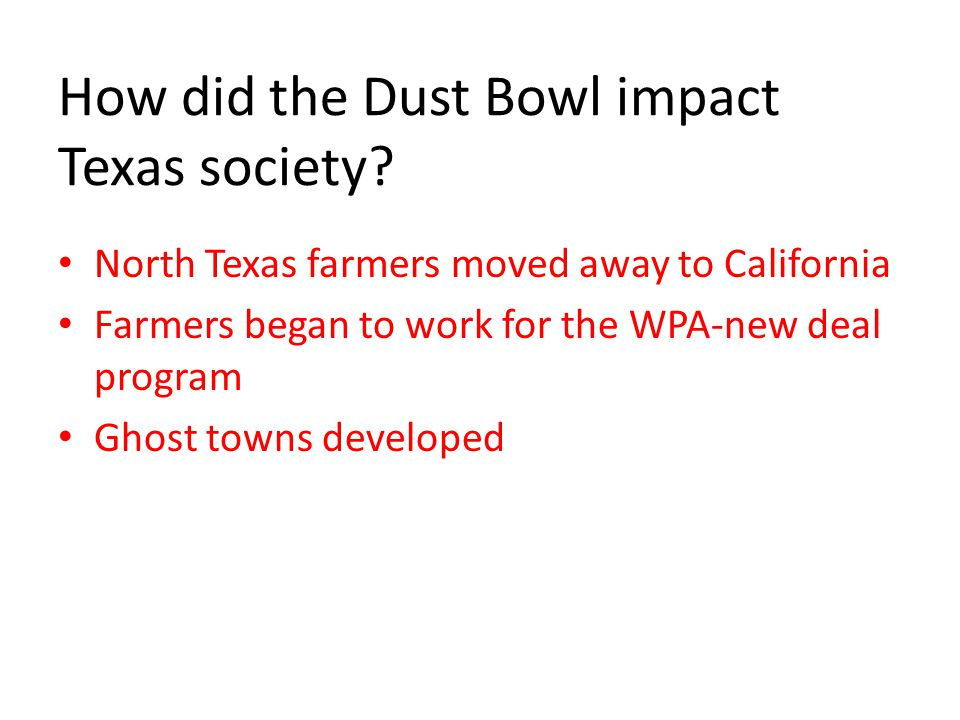 How did the Dust Bowl impact Texas society.
