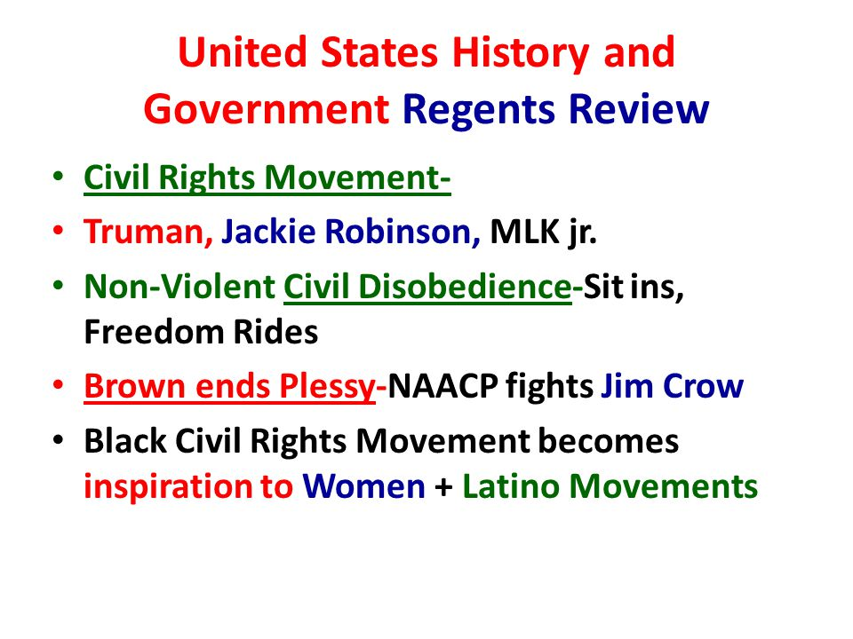 United States History and Government Regents Review Civil Rights Movement- Truman, Jackie Robinson, MLK jr.