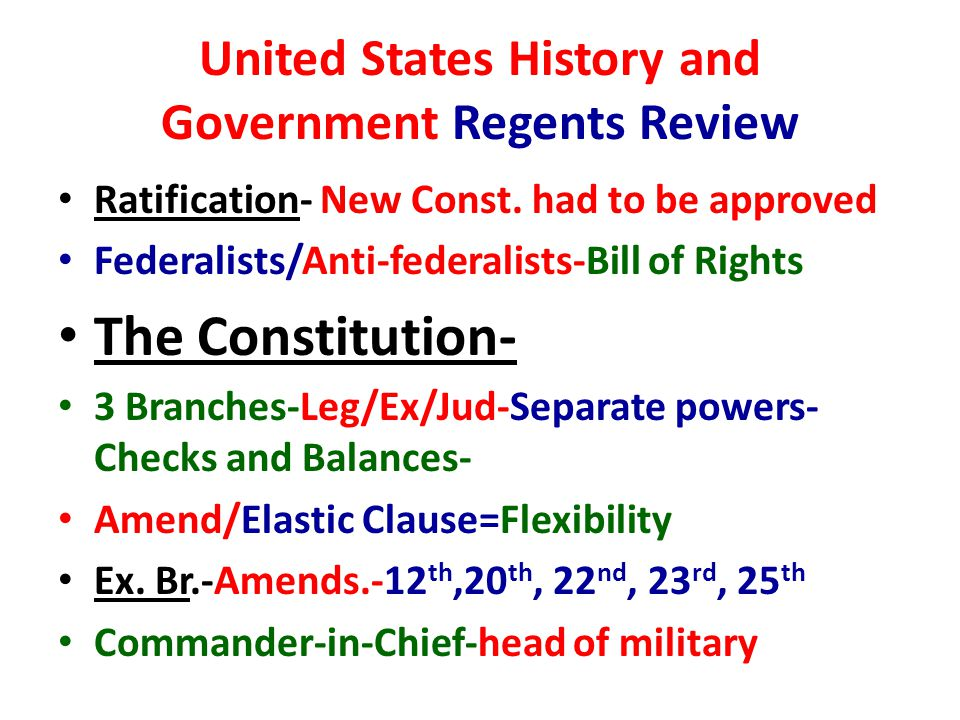 United States History and Government Regents Review Ratification- New Const.